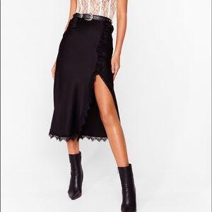 Black Lace Satin Midi Skirt Size 2